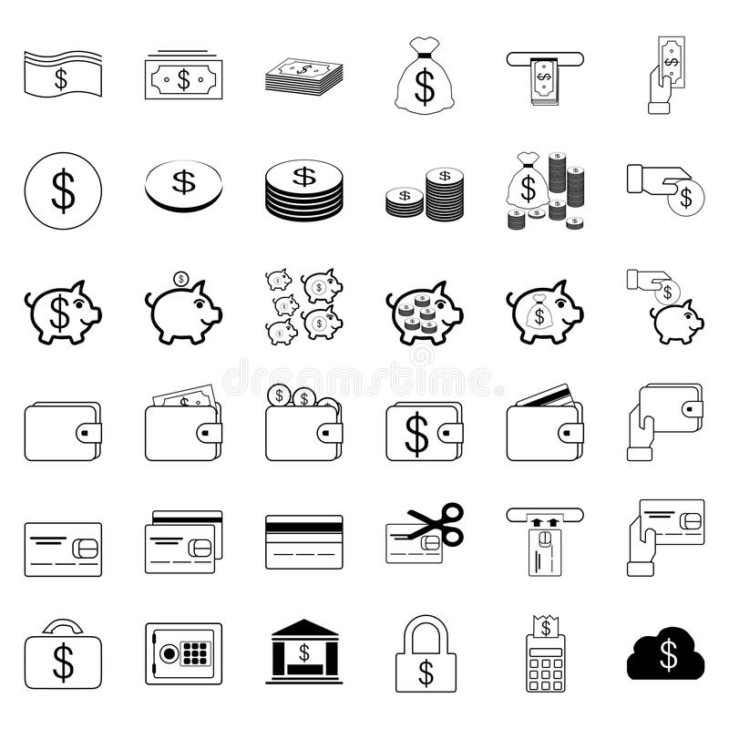 36个象 开户和财政集合传染媒介线象 包括s 库存例证