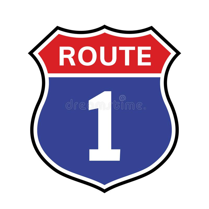 1个路线标志象 传染媒介路1高速公路跨境美国高速公路我们加利福尼亚路线标志 向量例证