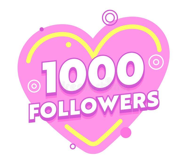 1000个追随者社会站点岗位在与任意设计元素的桃红色心脏 一千个订户的祝贺卡片 向量例证