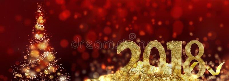 2018个金黄图和圣诞树 免版税库存照片