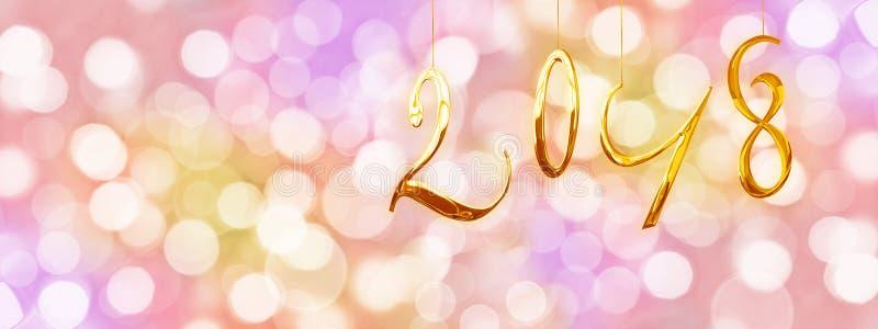 2018个金黄数字,与被弄脏的光的假日五颜六色的背景 库存照片