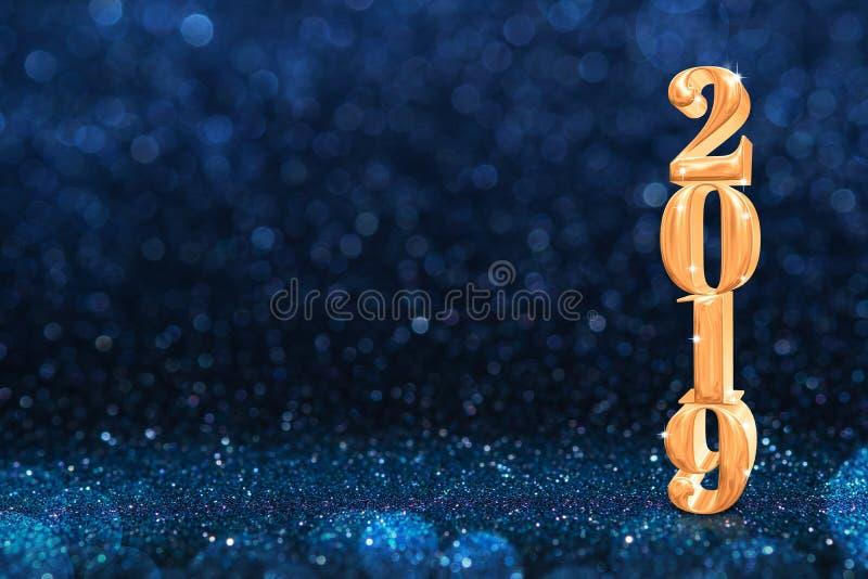 2019个金黄新年在摘要闪耀的黑暗的bl的3d翻译 免版税库存照片