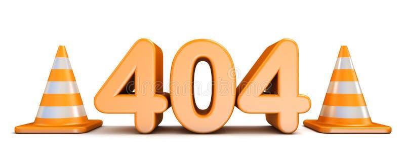 404个错误和交通锥体3D翻译例证在白色b 库存例证