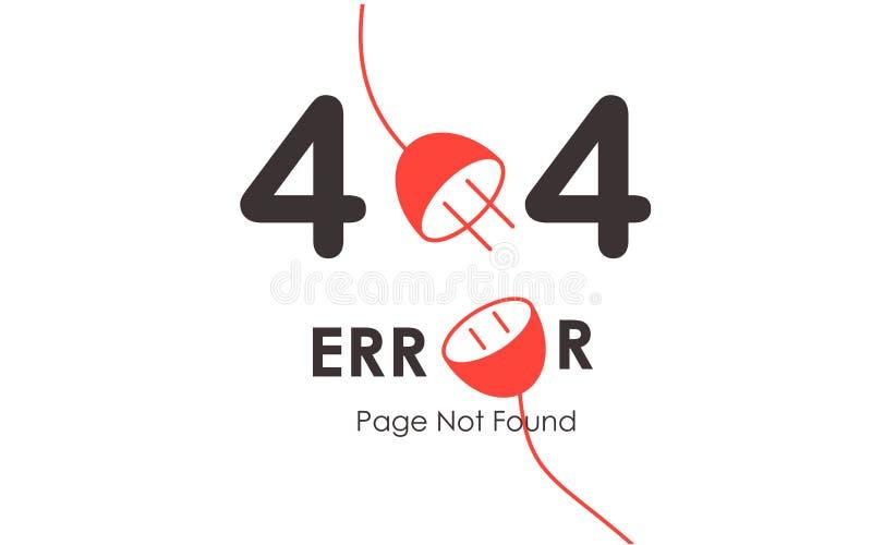 404个错误页没被找到的传染媒介红色插座图表背景 皇族释放例证