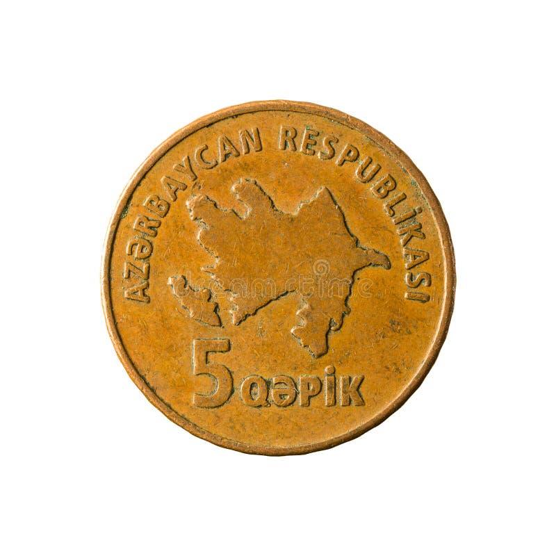 5个阿塞拜疆人qepik硬币相反 库存照片
