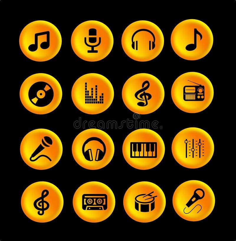16个音乐象或按钮 皇族释放例证
