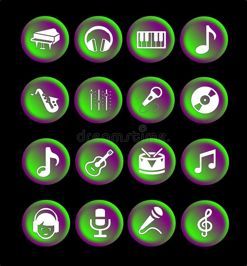 16个音乐象或按钮 库存例证