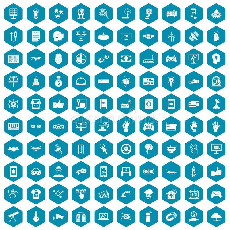 100个高科技象蓝宝石紫罗兰 向量例证