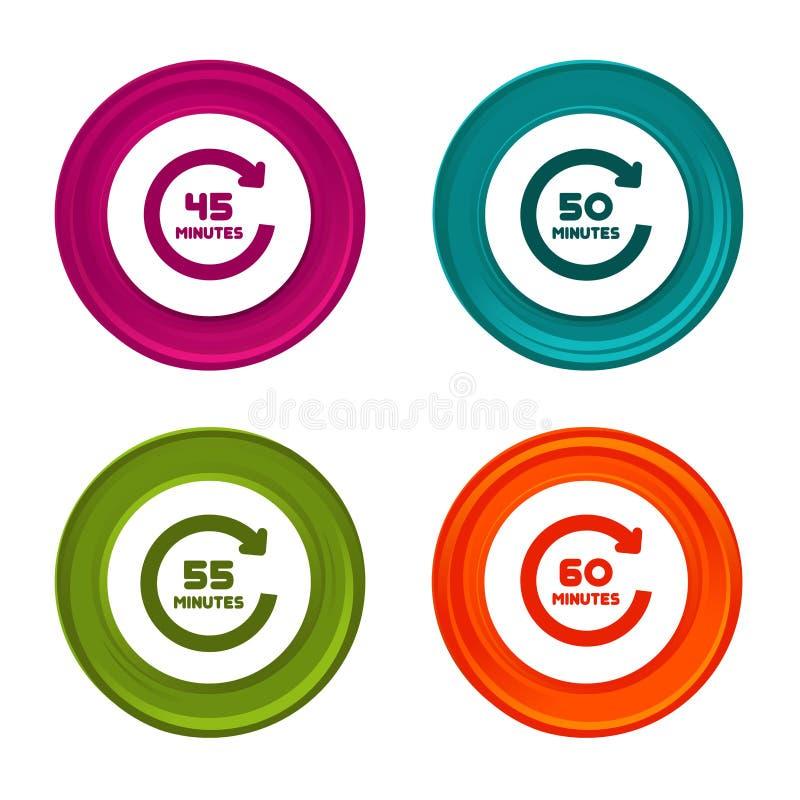 45个,50个,55个和60个分钟自转象 定时器标志 有象的五颜六色的网按钮 皇族释放例证