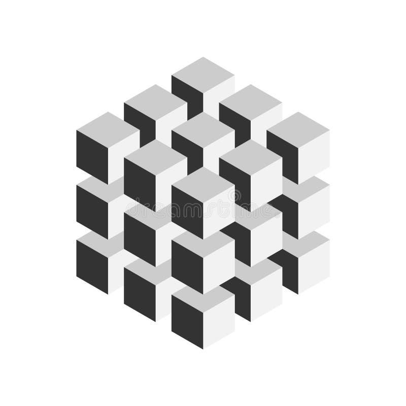 27个更小的等量立方体灰色几何立方体 抽象设计要素 科学或建筑概念
