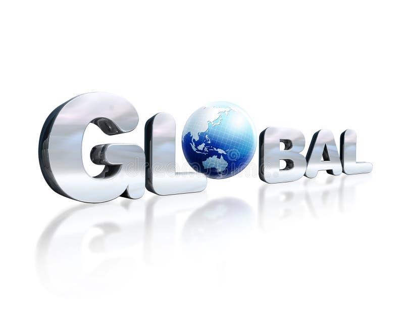 3个D与全球性的词的镀铬物字法和在pla的地球地球 皇族释放例证