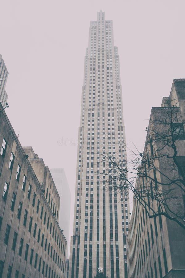 31个DEZ 2017年-纽约/USA -摩天大楼在纽约 雪 图库摄影
