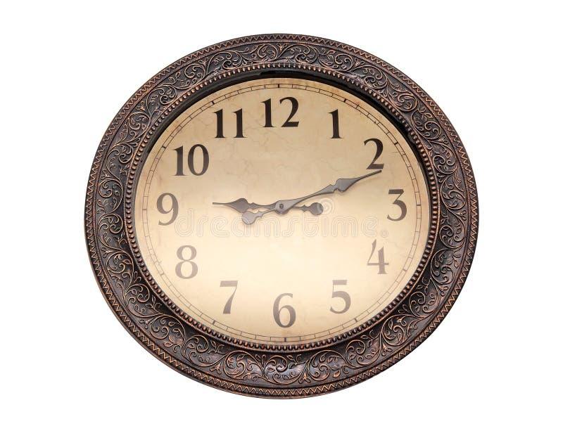 9个o在白色壁钟的`时钟 背景查出的白色 免版税图库摄影
