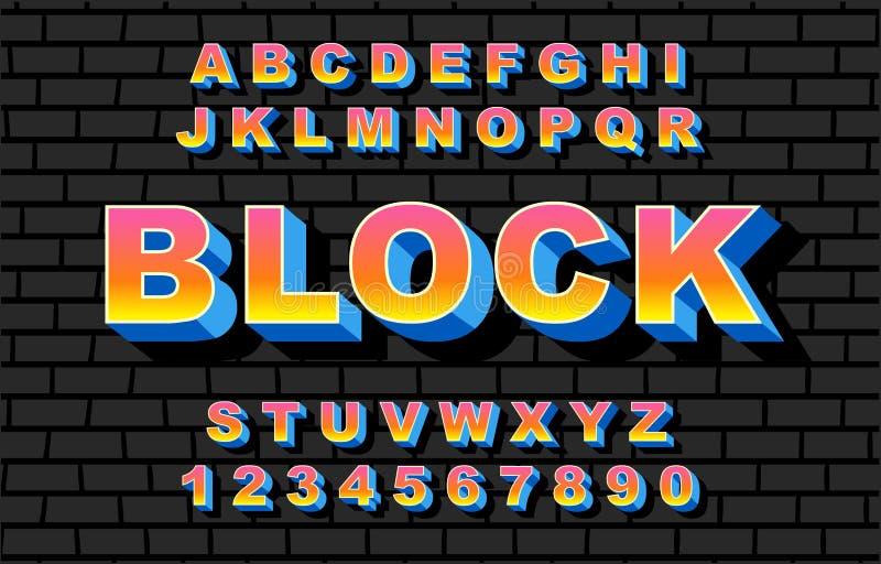 80个s减速火箭的字母表字体彩虹样式,葡萄酒 向量例证