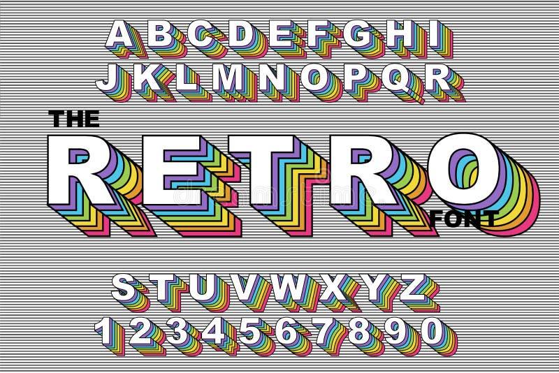 80个s减速火箭的字母表字体 彩虹葡萄酒字母表传染媒介80 s,90个s老牌图表海报 库存例证