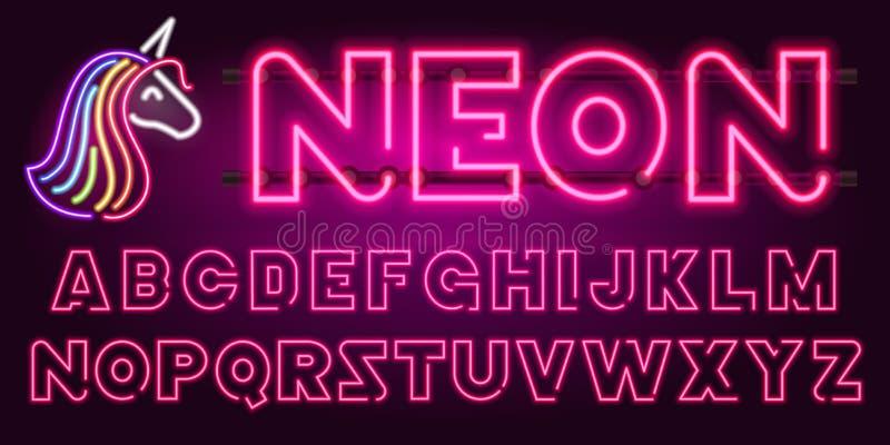 80个s紫色霓虹减速火箭的字体和独角兽 未来派镀铬物信件 在黑暗的背景的明亮的字母表 轻的标志 库存例证