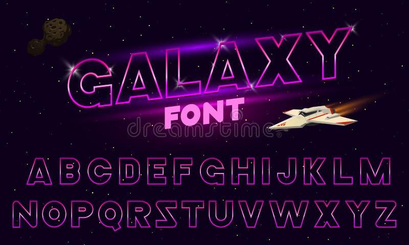 80个s紫色霓虹减速火箭的字体 未来派镀铬物信件 在黑暗的背景的明亮的字母表 轻的标志标志为夜 皇族释放例证