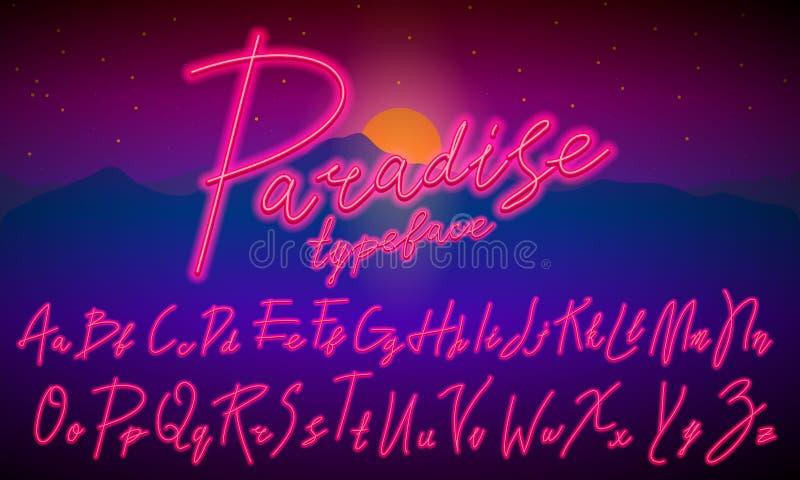 80个s蓝色紫色减速火箭的字体 未来派剧本,镀铬信件 在黑暗的背景的明亮的字母表 轻的标志为 皇族释放例证