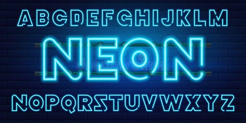 80个s蓝色霓虹减速火箭的字体 未来派镀铬物信件 在黑暗的背景的明亮的字母表 轻的标志标志为夜 向量例证