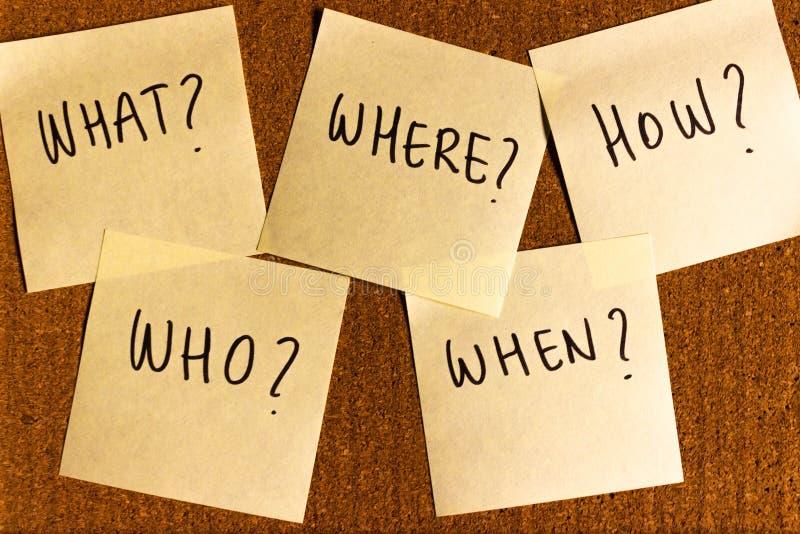5个w `新闻事业s,什么,其中,当,怎么写在黄柏板别住的笔记 库存照片