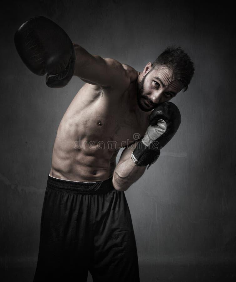 击中与手套的拳击手 免版税库存照片