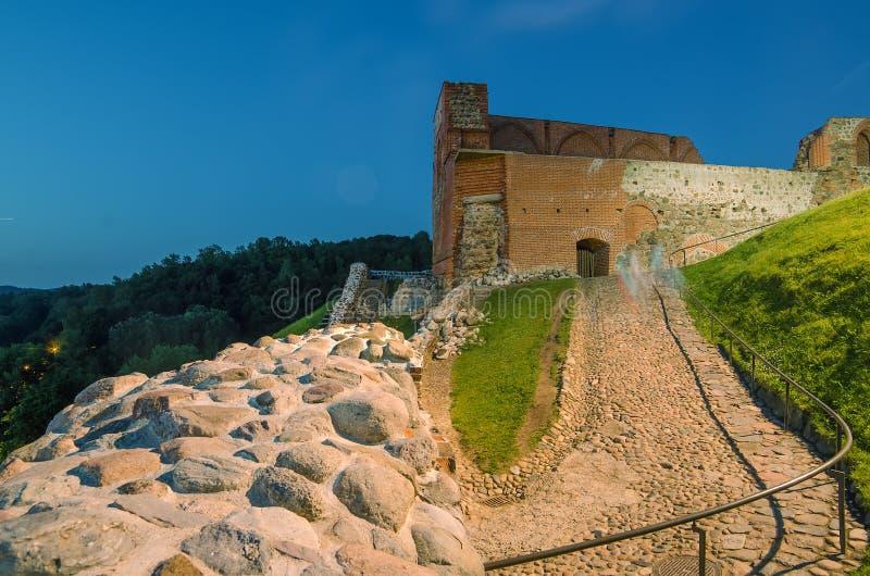 中世纪上部城堡在维尔纽斯,立陶宛 图库摄影