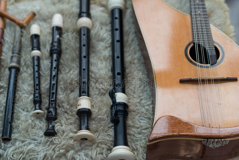 中世纪乐器 免版税库存图片