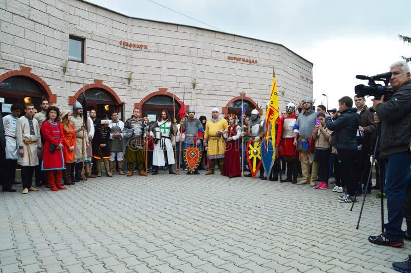中世纪保加利亚服装的历史重建 库存照片