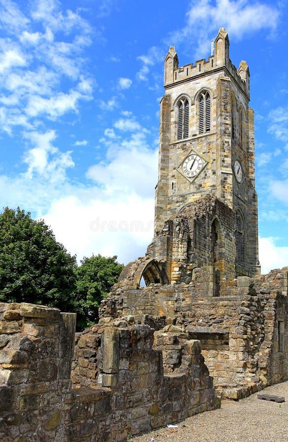 中世纪修道院塔, Kilwinning,北艾尔郡苏格兰 库存图片