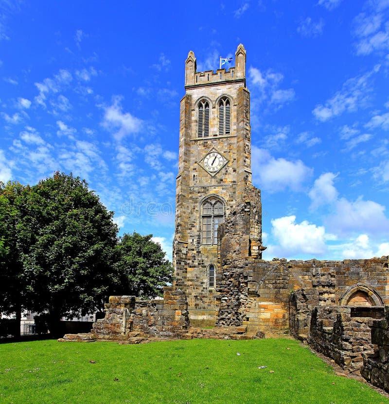 中世纪修道院尖沙咀钟楼, Kilwinning,北艾尔郡苏格兰 图库摄影