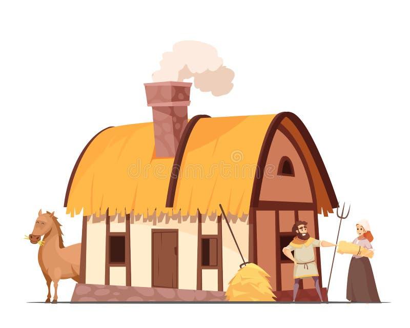 中世纪农民家庭动画片例证 皇族释放例证