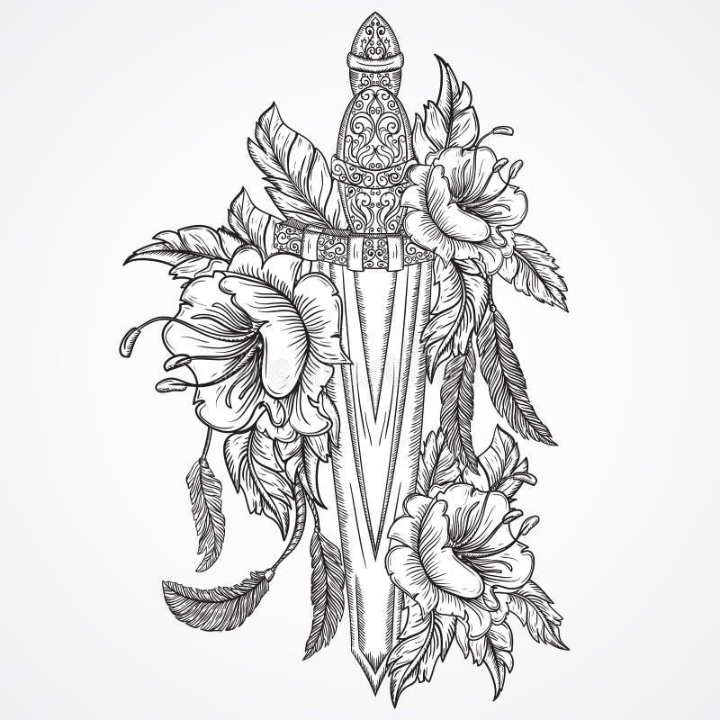 中世纪剑、花、叶子和羽毛 葡萄酒花卉高度详细的手拉的例证 查出的要素 皇族释放例证