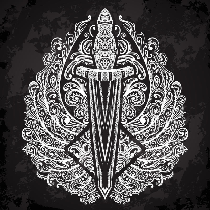 中世纪剑和华丽翼在黑背景 葡萄酒花卉高度详细的手拉的例证 要素 库存例证