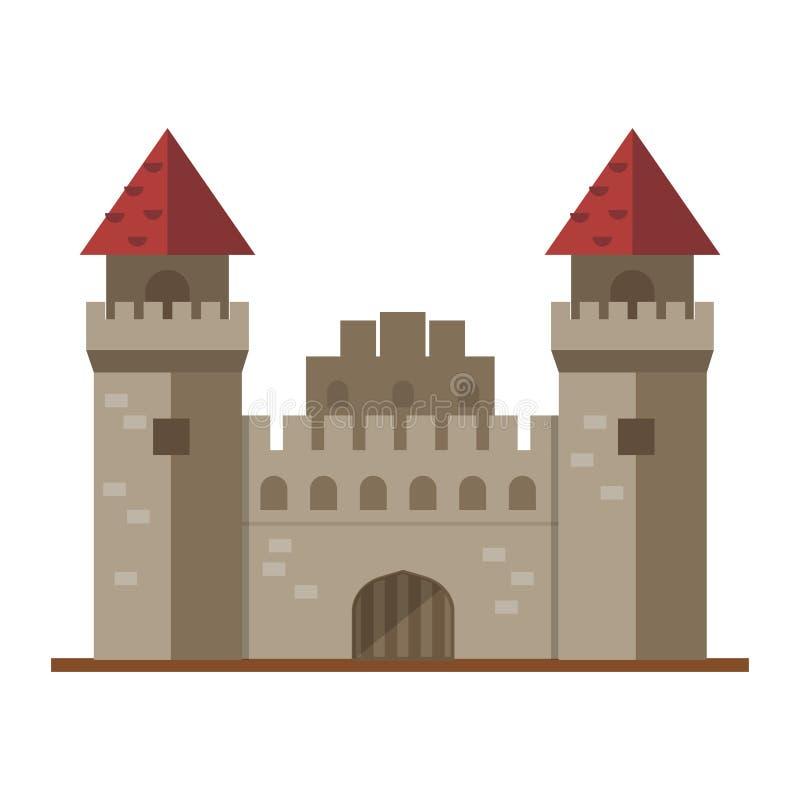 中世纪动画片童话城堡塔象逗人喜爱的建筑学幻想房子的童话和公主堡垒设计 向量例证
