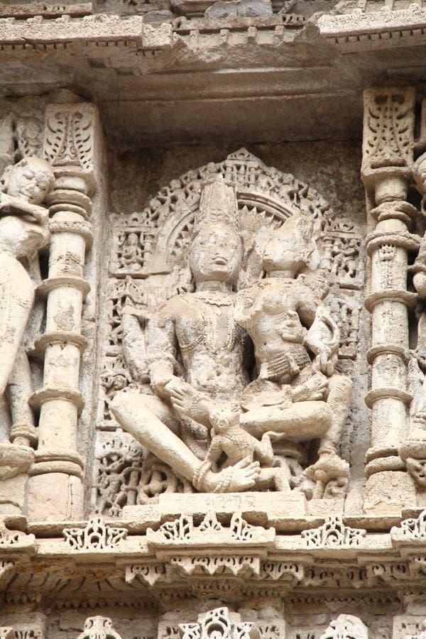 中世纪印度的石雕塑 库存照片