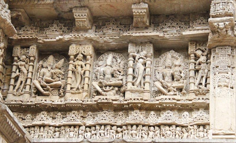 中世纪印度的石雕塑 库存图片