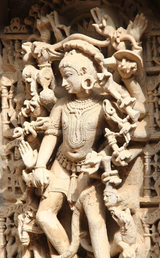 中世纪印度的石雕塑 免版税库存图片