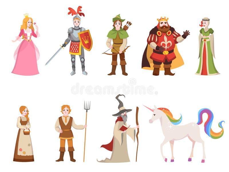 中世纪历史字符 骑士国王女王/王后王子公主神仙的皇家城堡龙马巫婆集合动画片 皇族释放例证