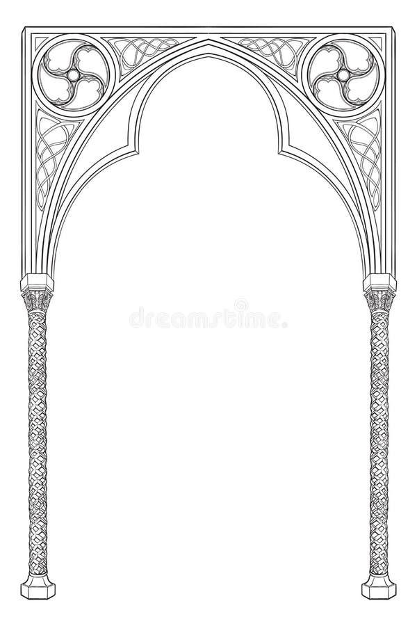 中世纪原稿样式长方形框架 哥特式样式突出拱门 库存例证