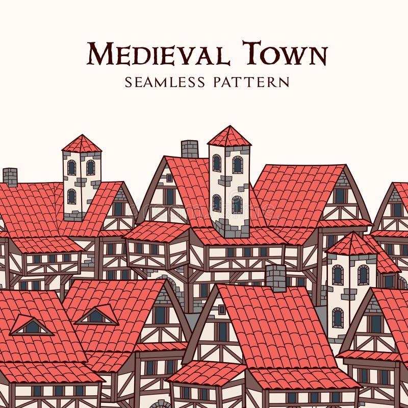 中世纪古城 无缝的模式 向量例证