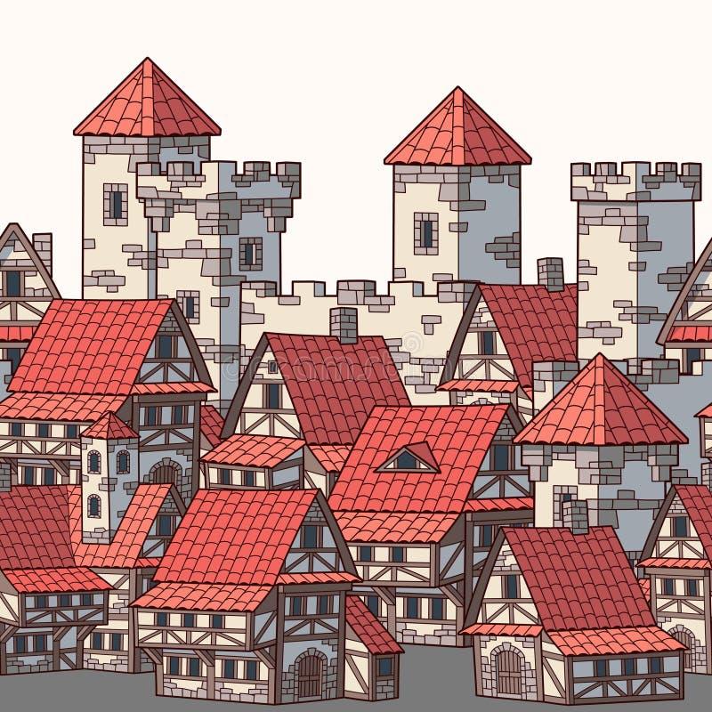 中世纪古城 无缝的模式 库存例证