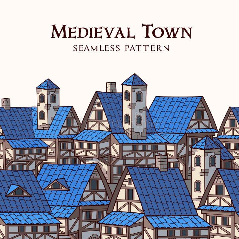 中世纪古城 无缝边界的模式 库存例证