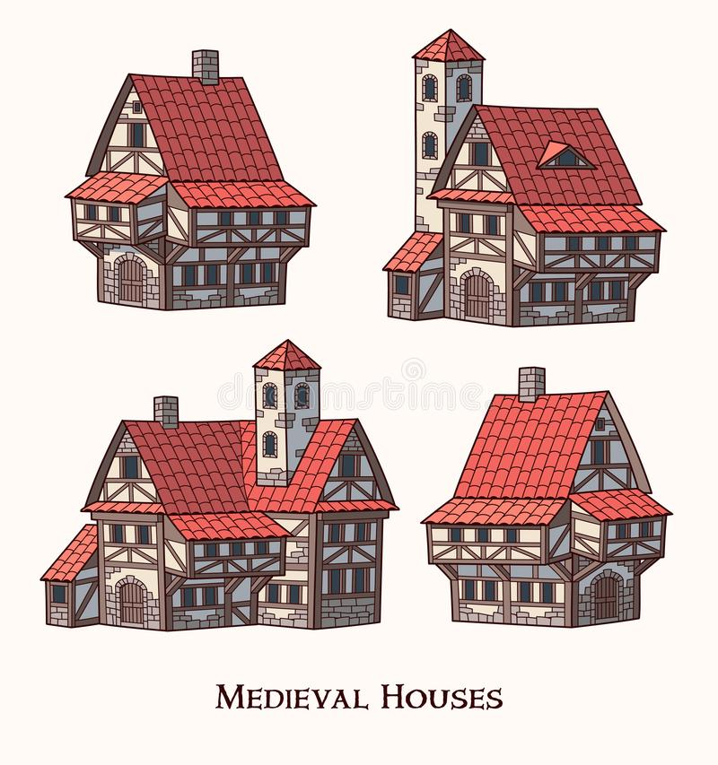 中世纪古老大厦套传统房子 向量例证