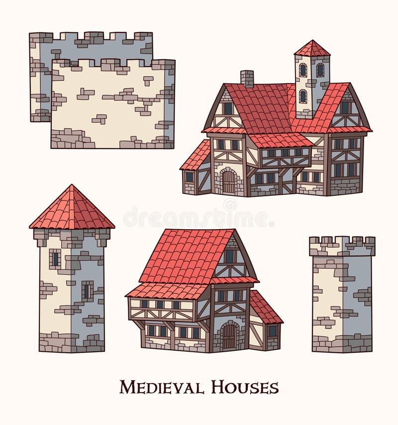 中世纪古老大厦套传统房子 皇族释放例证