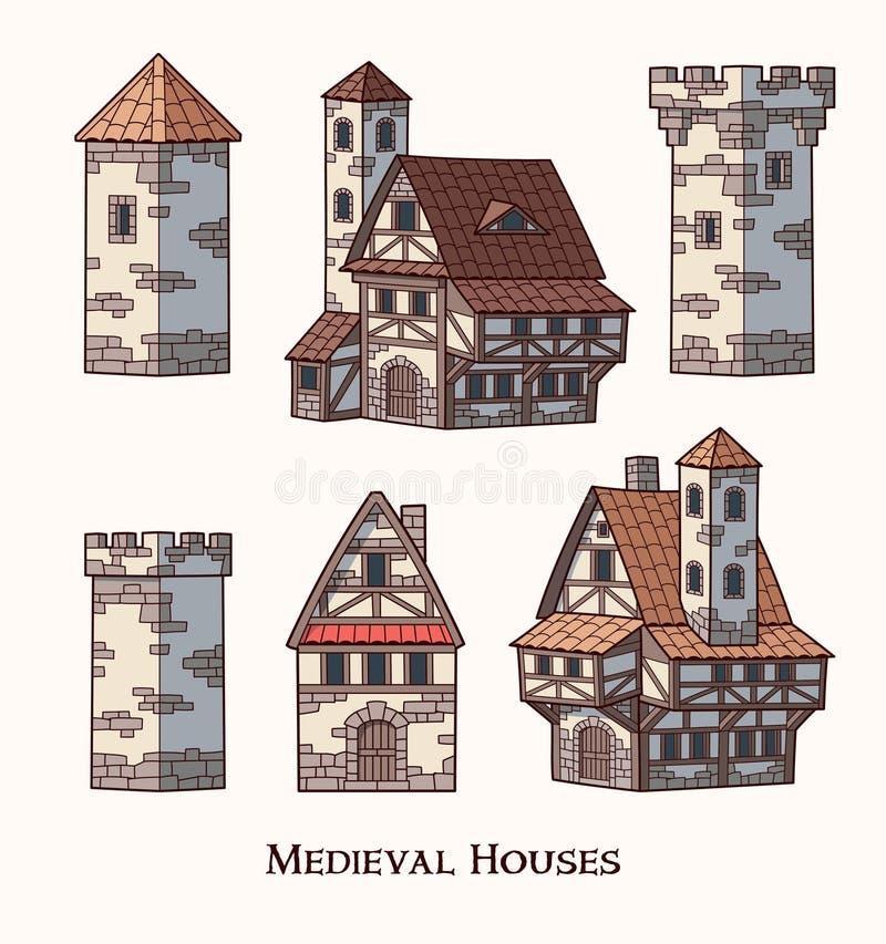 中世纪古老大厦被设置不同的种类传统房子隔绝了传染媒介例证 向量例证