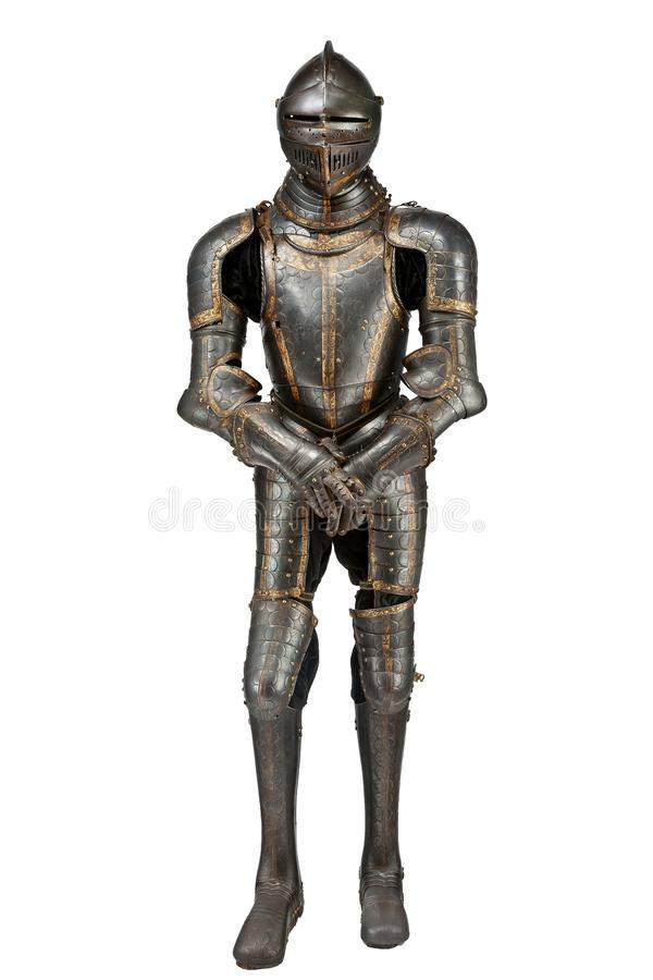 中世纪古色古香的葡萄酒黑骑士装甲 库存照片