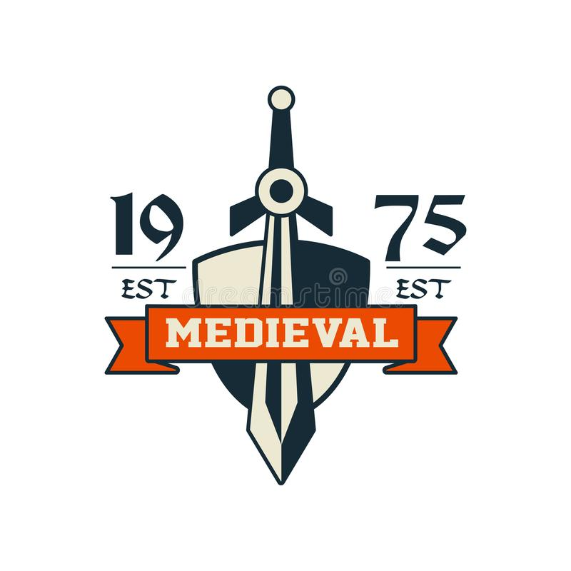 中世纪商标、est 1975年,葡萄酒徽章或者标签,纹章元素传染媒介例证 库存例证
