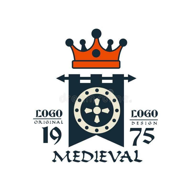 中世纪商标、est 1975年,葡萄酒徽章或者标签,纹章元素传染媒介例证 皇族释放例证