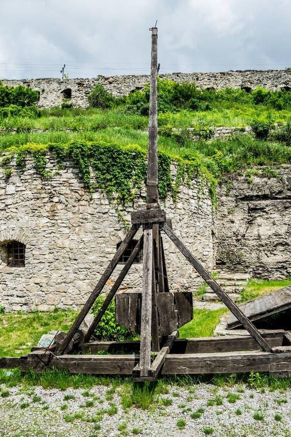 中世纪围困武器Trebuchet 库存图片