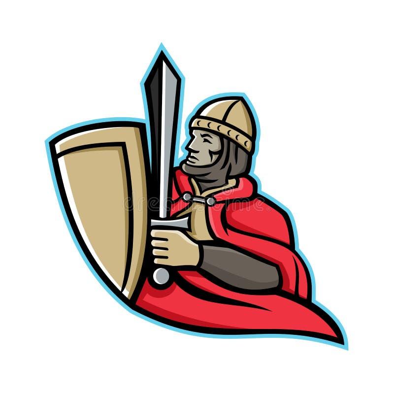 中世纪国王Regnant Mascot 向量例证